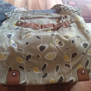 Fossil green and brown print shoulder bag